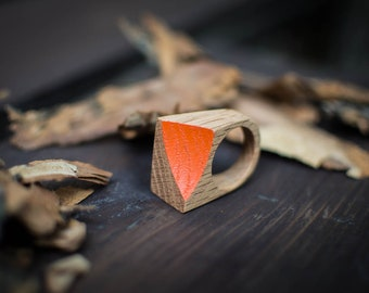 Geometric Ring, Wooden Ring, Wood Ring, Geometric Jewelry, Orange Ring, Eco Friendly Ring, Summer Ring, Natural Wood Ring, Size 11 Ring