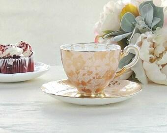 Demitasse Coalport Wedding Tea Set, Antique English Bone China by Coalport, Cactus Gold Chintz, RARE, Small Tea Cup Set