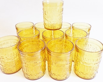 Vintage Amber Glass Cocktail Glasses - Mid Century Low Ball Embossed with Liquor Names - Set of 12 Wheaton Company
