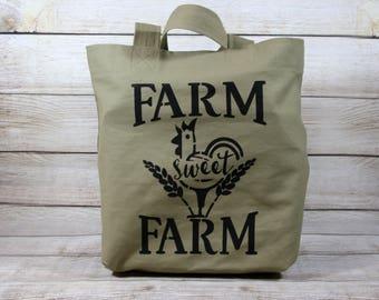 Farm Sweet Farm Market Bag, Tote Bag, Shopping Bag, Canvas Bag