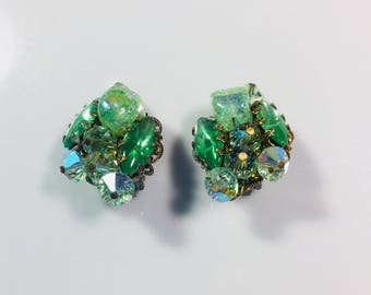 Vintage Alice Caviness Signed Green Glass Earrings