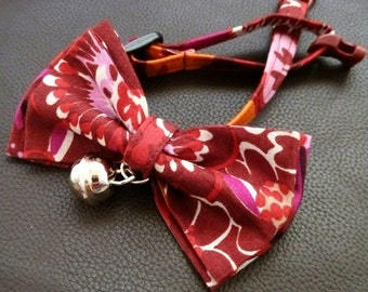 Cat collar with bow tie - red cotton bow tie with cat collar with non or breakaway buckle