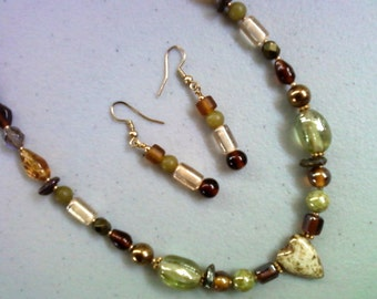 Earthy Brown and Green Necklace and Earrings (0209)