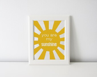 You are my sunshine cross stitch pattern - nursery decor - modern cross stitch pattern PDF - Instant download
