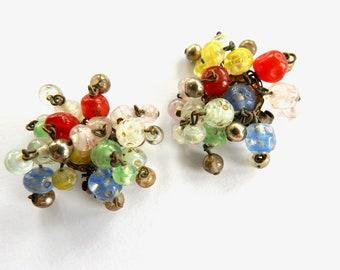 Murano Glass Cluster Clip on Earrings