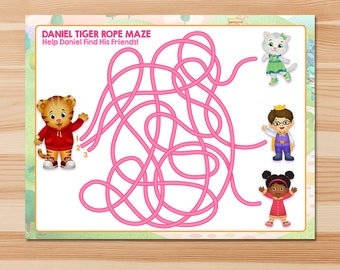 Daniel Tiger Rope Maze Party Game - Pink Chalkboard - Girl Daniel Tiger Maze Party Game - Daniel Tiger Birthday Party - Daniel Tiger Party