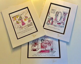 Group of 3 Matted Pen, Ink & Watercolor Humorous Illustrations By Sher