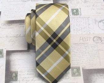 Mens Tie. Skinny Ties. Yellow Gold and Brown Plaid Skinny Necktie