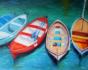 Liguria Vernazza Cinque Terre Italy Boats Art Seascape Painting on Canvas Painting Sea Original Oil Painting Painting Home Interior Wall Art