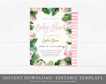 Tropical Love Flamingo Baby Shower Invitation Card | Instant Download, Editable, Printable | Boho, Summer, Tropical, Hawaiian, Pool | DC023