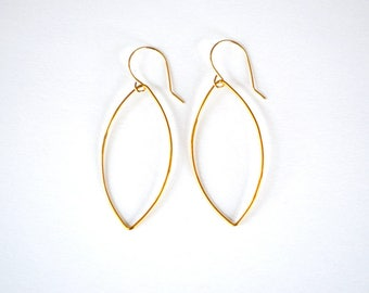 Minimalist 14K gold filled marquise earrings