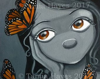 PRINT Acrylic Painting Butterflies Big Eye Lowbrow Art Orange Black White Chicasol Tamia