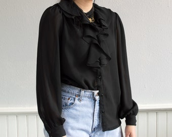 90s Black All Ruffled Up Blouse / Fits up to a Large