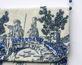 Beige medium purse bag blue hand beaded chain and design outdoor upholstery cotton fabric
