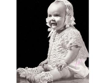 Heirloom Baby Sweater Crochet Pattern Set Bootees Booties Bonnet Vintage Crochet PDF B106