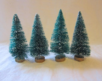 4 miniature bottle brush trees - 3.25 inches - green, flocked, sisal - ms3
