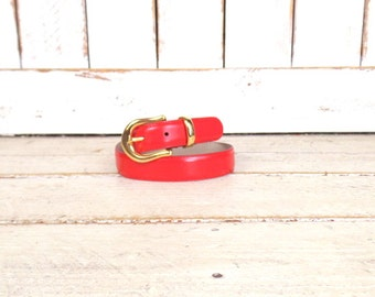 Vintage red leather belt/gold metal buckle belt/small/medium