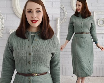 Vintage 1950s Cardigan and Dress Set by Barbara Carol Knitwear in Muted Green with Original Box Size Small