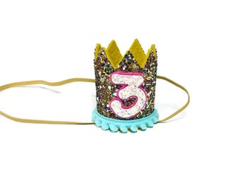 3rd Birthday Crown || Any Age || Dog Birthday Hat || Pet Party || Birthday Crown
