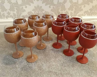 12 very large glittered and diamante balloon wine glasses