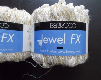 Berroco Jewel FX yarn 2 skeins white with gold metallic