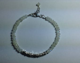 Natural Moonstone and Fine Silver Bracelet