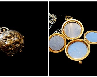 Nature - Vintage Four Picture Family Locket Necklace