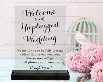 Unplugged Wedding/Acrylic Sign/Wedding Sign/Ceremony Sign/No Phones/turn off phone