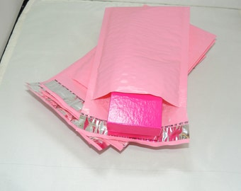 50 Pack 4x8 Wholesale Pastel  Pink 4x8 Bubble Mailers, Fluorescent Pink Padded envelopes, Mailing Shipping Envelopes