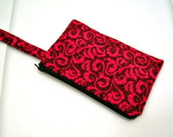 Pink and Brown Scroll Wristlet