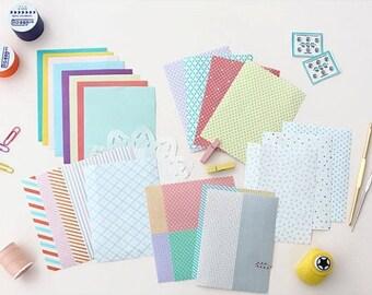 Lovely Various Pattern Masking Tape Sticker Set (24 sheets, pvc pocket)