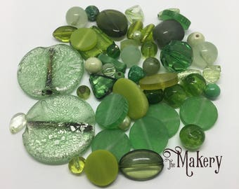 Green bead mix, 50 beads, glass, resin, ceramic, plastic, wooden