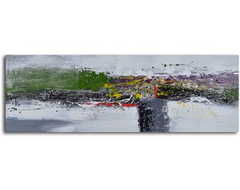 """Hand painted Acrylic Painting 20"""" x 60"""" Gallery wrapped and stretched canvas art, abstract painting, textured ,gallery art, large painting"""