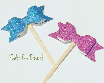 Blue Glitter Bow Cupcake Toppers - 12 pcs