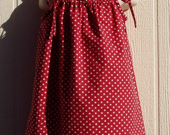 Small White Stars on Red Cotton Toddler Dress with Strap Ties, Size 3T