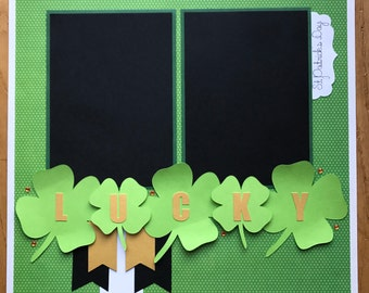 Saint Patrick's Day Scrapbook Page, Premade St. Patrick's Day Scrapbook Page, St. Patty Scrapbook Album Pages, Lucky Scrapbook Page