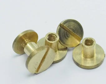 "chicago screw / concho screw, 5 pcs 10x7mm raw brass studs, screw rivets, unusual steampunk finding, 1/8"" bolt CSC5"