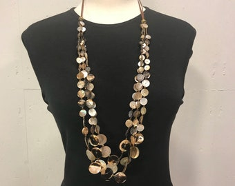 retro Albacore and mother of pearl  shell necklace  shell button necklace  multi strand resort summer casual beach natural necklace