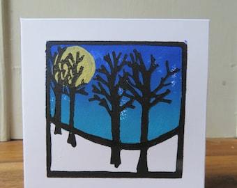 "original hand printed card "" Fine night """