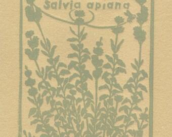 White Sage Original Art Linoleum Block Print