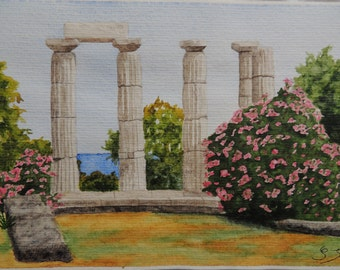 """Watercolour Greece : """"Remains of a temple in Greece"""""""