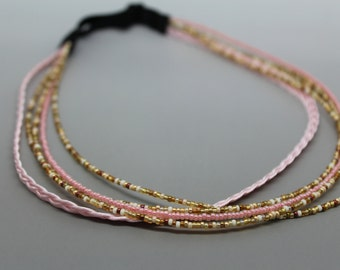 Pink and Honey Butter toned Adjustable Beaded Headband