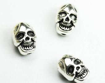 10pcs 11*8mm Skull Beads Jewellery Findings,Antique Tibetan Tone Alloy,hole1mm -FDB0343