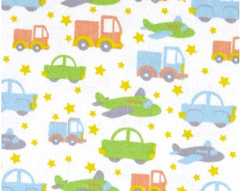 Car and Trunk Flannel Fabric, Fabric By The Yard, Fabric BTY,  Transportion Fabric,  Flannel Fabric,  Quilting Fabric, Baby Flannel Fabric