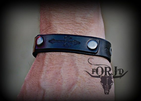 Custom engraved leather bracelet, Leather Bracelet, Unique Bracelet, Unique Jewelry, Goth Jewelry, Crucifix Jewelry
