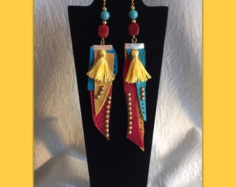 Color Blind leather Reversed jewelry earrings