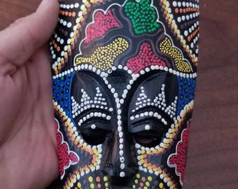 """Hand-Carved Wood Mask from Bali, Indonesia! Wall Art decor! Wood Carving 9.5"""" (Q17)"""