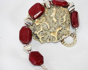 Red Bracelet - Silver Jewelry - Jade Jewellery - Crimson Gemstone - Chunky - Chic