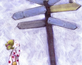 Which Way? - whimsical signpost - boy or girl - lost and found - where to go
