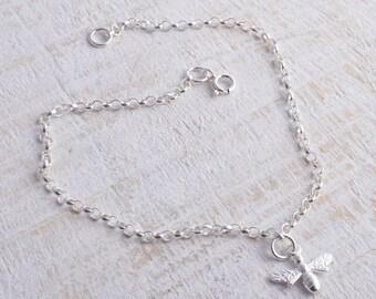 Sterling silver chain bee bracelet sterling silver 925 honey bee bracelet